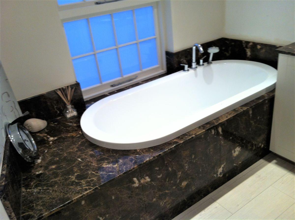Marron Imperial Bath Surround - Hobbs Marble and Granite